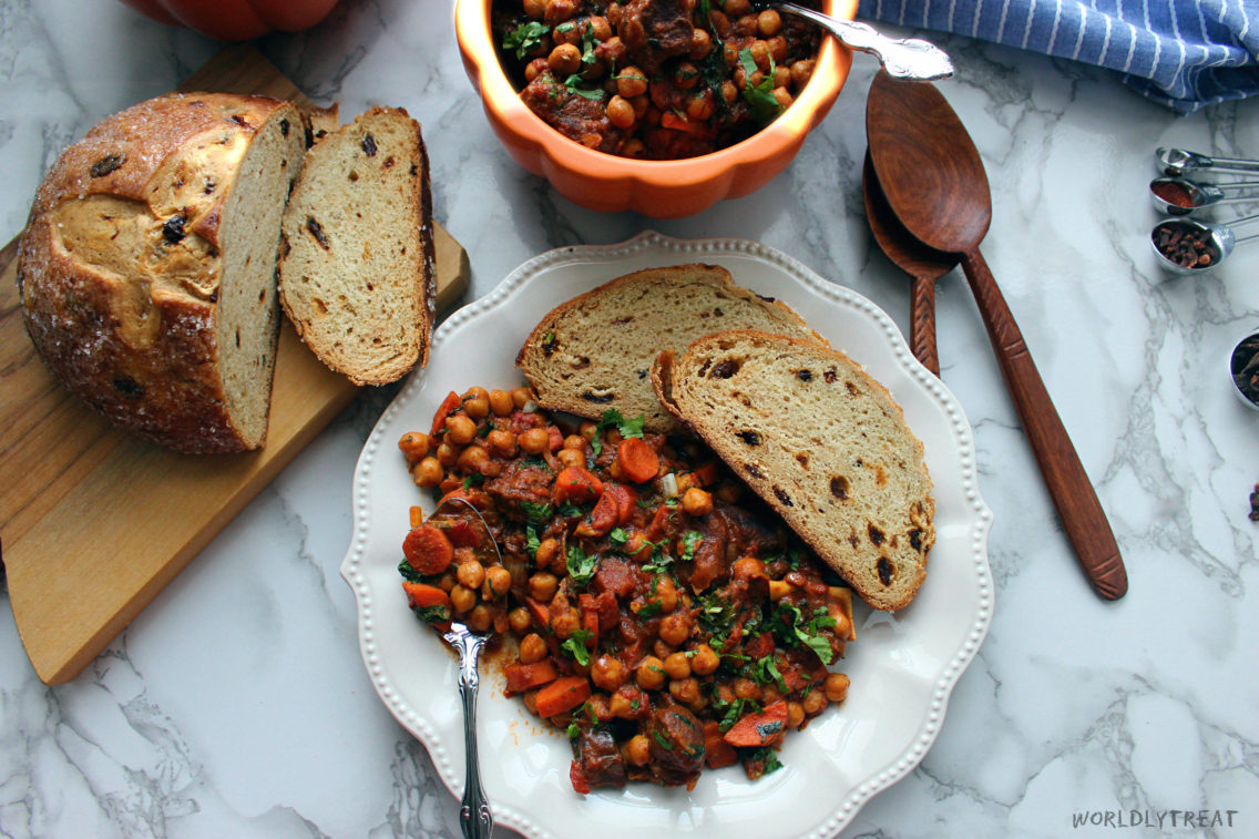 stewed goat with chickpeas.