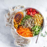 A bowl of tri color quinoa salad