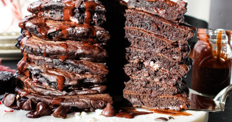 Fluffy Dark Chocolate Peppermint Pancake