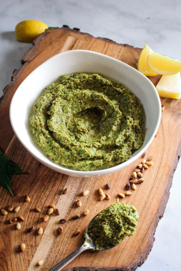 Nutty Asparagus Basil Pesto