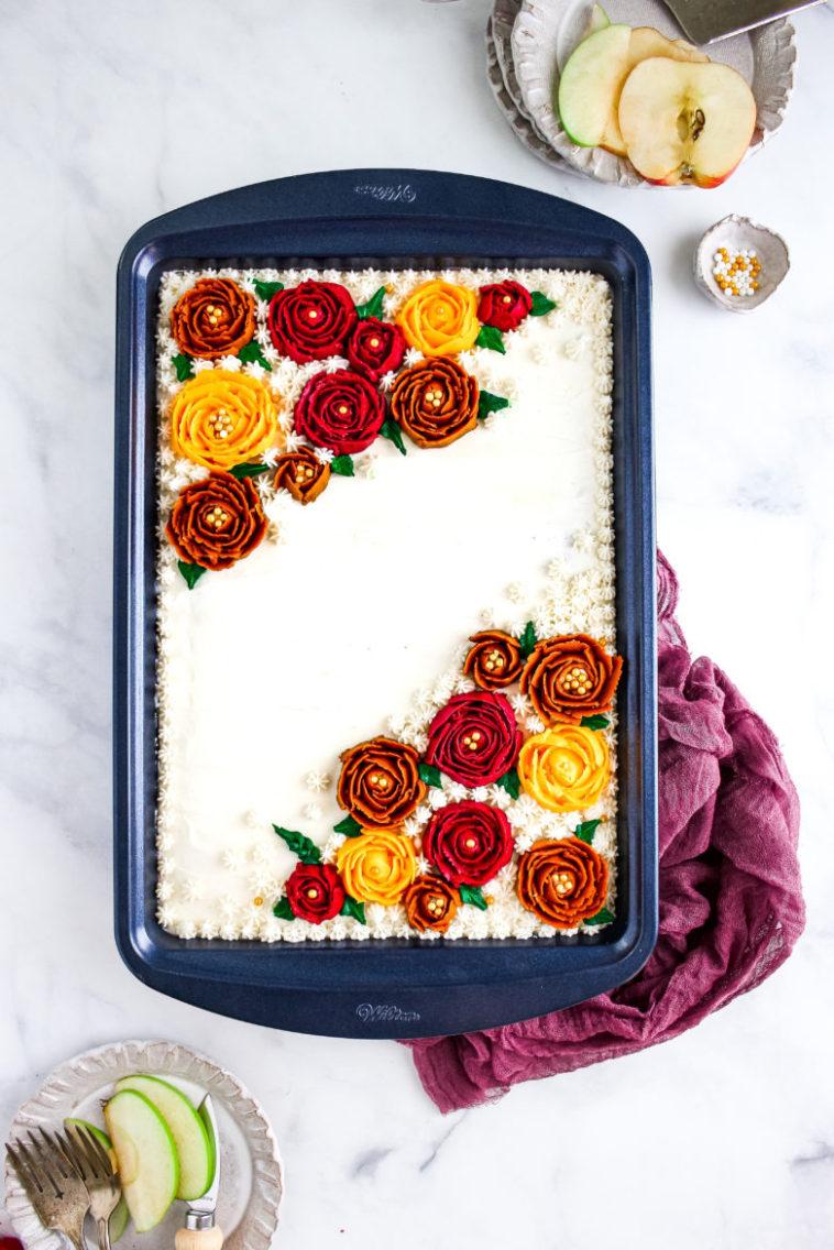 apple-pumpkin sheet cake with maple buttercream frosting 7