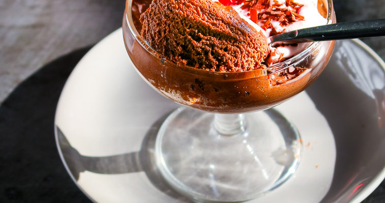 Coconut Chocolate Mousse (with Maraschino cherry whip)