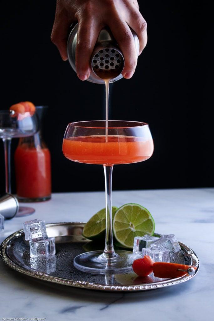 Papaya Mandarin Rum Cocktail