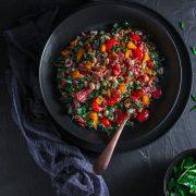 a bowl of black eyed beans salad